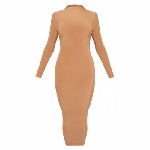 FASHSTYL ハイ ドレス キャメル 【 CAMEL FASHSTYL PRETTYLITTLETHING SECOND SKIN SLINKY HIGH NECK MIDAXI DRESS 】 レディースファッション ドレス