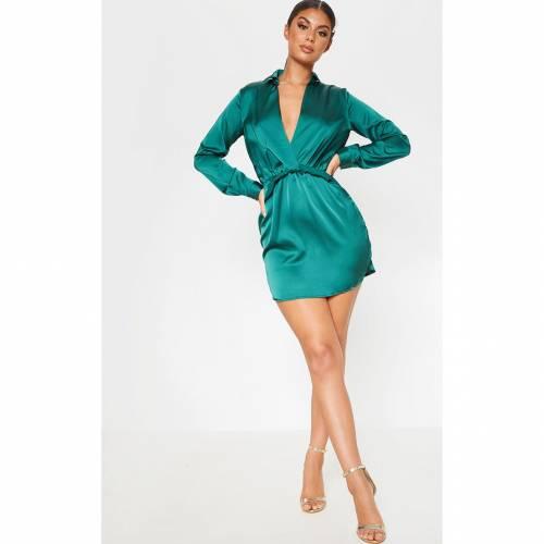 4FASHION ローズ 【 ROSE KATALEA TWIST FRONT SILKY SHIRT DRESS EMERALD GREEN 】 レディースファッション ドレス