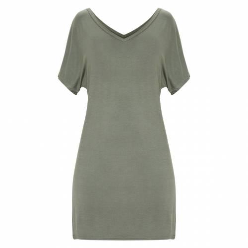 TOP ドレス カーキ 【 TOP PRETTYLITTLETHING BASIC V NECK T SHIRT DRESS KHAKI 】 レディースファッション ドレス