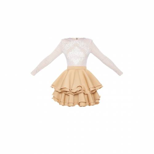 4FASHION ドレス 【 4FASHION PRETTYLITTLETHING APPLIQUE DETAIL RUFFLE TIERED SKATER DRESS NUDE 】 レディースファッション ドレス