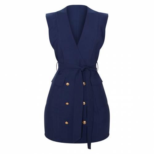 4FASHION ノンスリーブ ブレーザー ブレイザー ドレス 【 Prettylittlething Sleeveless Gold Button Detail Blazer Dress 】 Navy