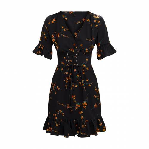 新品即決 4FASHION スウィング ドレス 黒色 ブラック 【 SWING 4FASHION PRETTYLITTLETHING CORSET DRESS BLACK FLORAL 】 レディースファッション ドレス, クロノコーポレーション cf88daad
