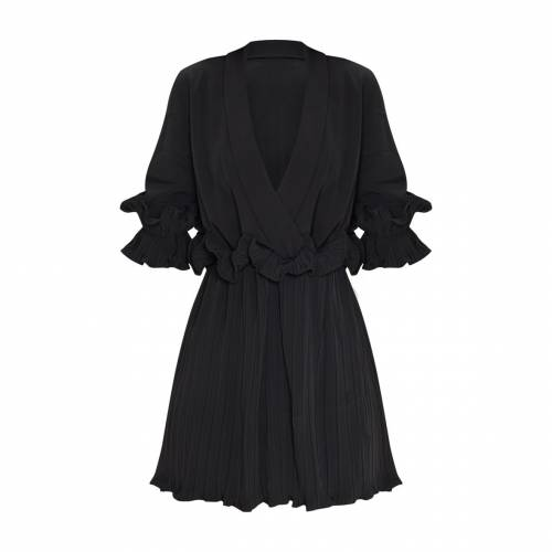 4FASHION ドレス レディースファッション 【 Prettylittlething Frill Detail Pleated Skater Dress 】 Black