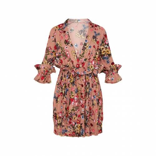 4FASHION ドレス レディースファッション 【 Prettylittlething Frill Detail Pleated Skater Dress 】 Dark Nude