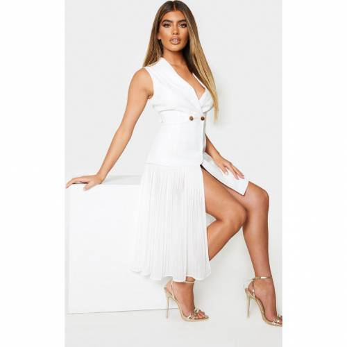 R_FAMOUS ドレス 白 ホワイト R_FAMOUS 【 WHITE PRETTYLITTLETHING PLEATED DRAPE DETAIL WAISTCOAT DRESS 】 レディースファッション ドレス