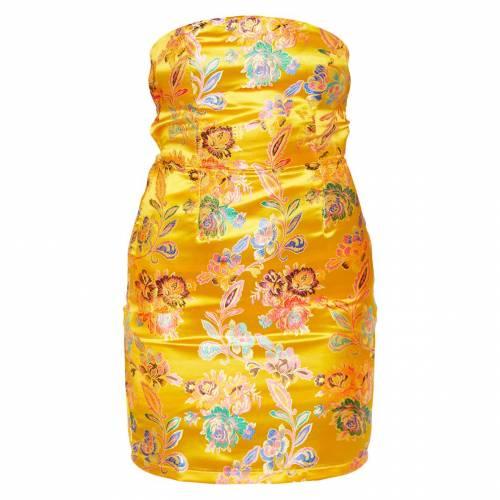 4FASHION サテン ドレス 黄色 イエロー 【 YELLOW 4FASHION PRETTYLITTLETHING MUSTARD ORIENTAL SATIN BANDEAU LACE UP BACK BODYCON DRESS 】 レディースファッション ドレス
