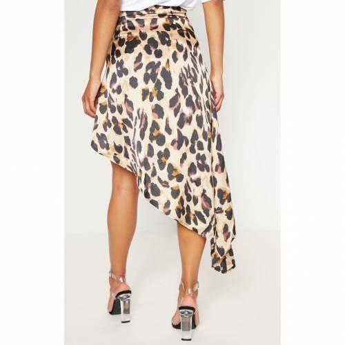 INNOVATI サテン レディースファッション ボトムス スカート 【 Prettylittlething Print Satin Asymmetric Skirt 】 Leopard