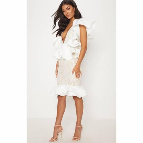 4FASHION 白 ホワイト 【 WHITE RUFFLE DETAIL PLUNGE MIDI DRESS 】 レディースファッション ドレス