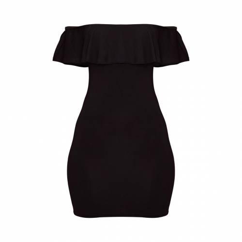 AMBREDES ドレス 黒 ブラック 【 BLACK AMBREDES PRETTYLITTLETHING BASIC BARDOT FRILL DETAIL BODYCON DRESS 】 レディースファッション ドレス