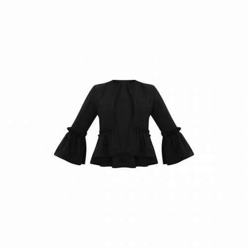 【スーパーセール中! 6/11深夜2時迄】FASHPOIN スリーブ ブレーザー ブレイザー 【 Prettylittlething Frill Sleeve Blazer 】 Black