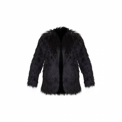 4FASHION 【 Prettylittlething Amaria Shaggy Faux Fur Jacket 】 Black