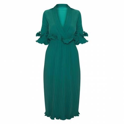 4FASHION ドレス 緑 グリーン 【 GREEN 4FASHION PRETTYLITTLETHING FRILL DETAIL PLEATED MIDI DRESS EMERALD 】 レディースファッション ドレス