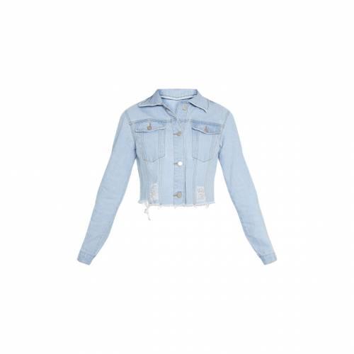 COSMIC チャコール デニム 【 Prettylittlething Tall Charcoal Cropped Denim Jacket 】 Light Blue Wash