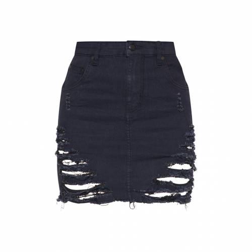 REDOX デニム レディースファッション ボトムス スカート 【 Prettylittlething Super Shred Denim Mini Skirt 】 Black
