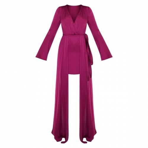 PARADIS サテン ドレス 【 PARADIS PRETTYLITTLETHING SATIN PLUNGE 2 IN 1 MAXI DRESS BERRY 】 レディースファッション ドレス