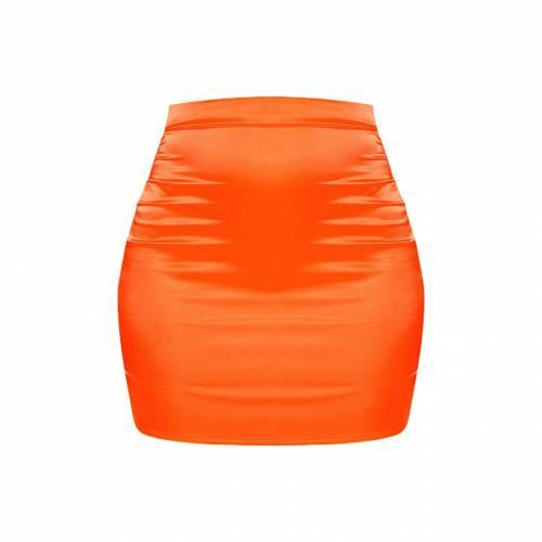 NEW_COLL サテン ハイ レディースファッション ボトムス スカート 【 Prettylittlething Satin High Waisted Mini Skirt 】 Neon Orange