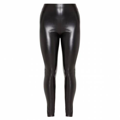 EXCLUSIV レザー インナー 下着 ナイトウエア レディース 下 レッグ スパッツ レギンス 【 Prettylittlething Faux Leather Ruched Bum Legging 】 Black