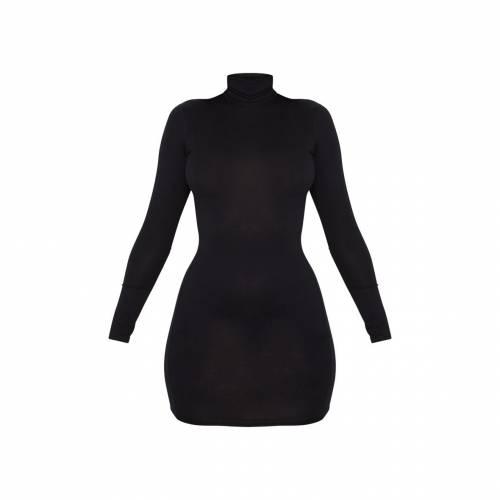 FASHION ジャージ ハイ ドレス 黒 ブラックBLACK FASHION PRETTYLITTLETHING JERSEY HIGH NECK BODYCON DRESSレディースファッション ドレスD9E2HI