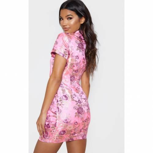 4FASHION ドレス ピンク 【 PINK 4FASHION PRETTYLITTLETHING ORIENTAL JACQUARD BODYCON DRESS 】 レディースファッション ドレス