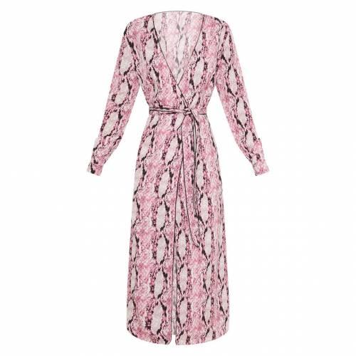 LOCCOAPP ドレス ピンク 【 PINK LOCCOAPP PRETTYLITTLETHING SNAKE PRINT BELTED MIDI DRESS 】 レディースファッション ドレス