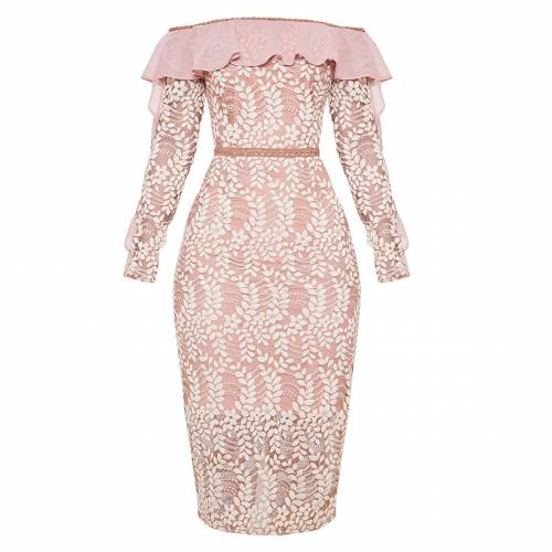CHARMS スリーブ ドレス ピンク 【 SLEEVE PINK CHARMS PRETTYLITTLETHING BARDOT LACE FRILL MIDI DRESS DUSTY 】 レディースファッション ドレス