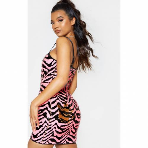 4FASHION ドレス 【 4FASHION PRETTYLITTLETHING ZEBRA SEQUIN STRAPPY BODYCON DRESS GOLD 】 レディースファッション ドレス
