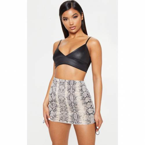 SYZE レディースファッション ボトムス スカート 【 Prettylittlething Slinky Snake Print Ruched Side Toggle Mini Skirt 】 Stone