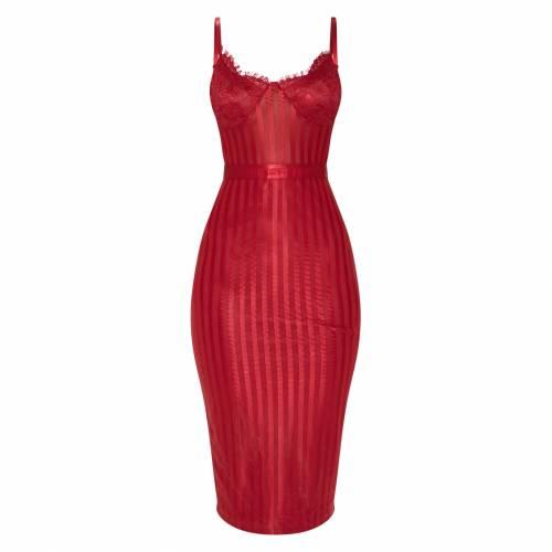 PURE ピュア ドレス 赤 レッド 【 RED PURE PRETTYLITTLETHING LACE DETAIL STRIPED MESH MIDI DRESS 】 レディースファッション ドレス