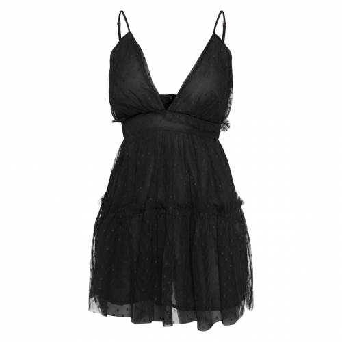 R_FAMOUS ドレス 黒 ブラック R_FAMOUS 【 BLACK PRETTYLITTLETHING SHEER DOBBY MESH RUFFLE SKATER DRESS 】 レディースファッション ドレス