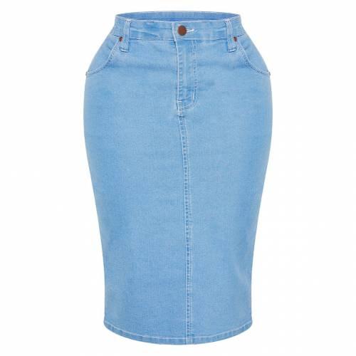 REDOX デニム レディースファッション ボトムス スカート 【 Prettylittlething Shape Light Wash Contrast Stitch Denim Midi Skirt 】 Light Blue Wash