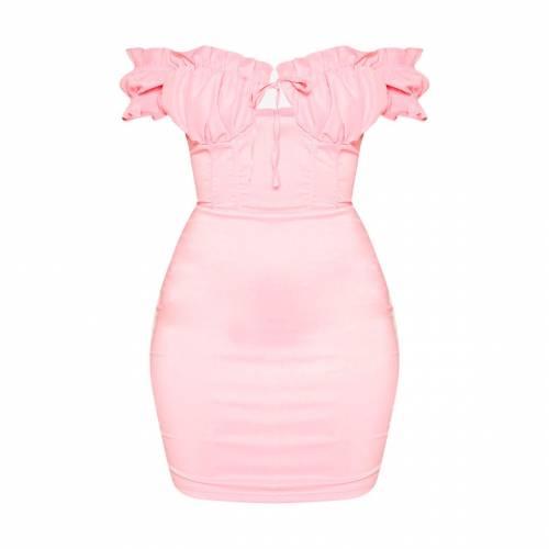 PURE ドレス レディースファッション 【 Prettylittlething Bardot Frill Detail Bodycon Dress 】 Baby Pink