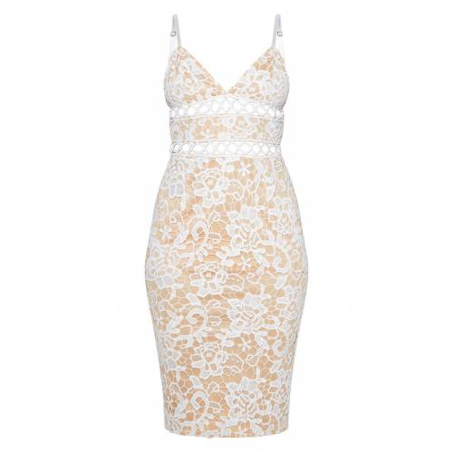 4FASHION ドレス 白 ホワイト 【 WHITE 4FASHION PRETTYLITTLETHING LACE CAMI MIDI DRESS 】 レディースファッション ドレス