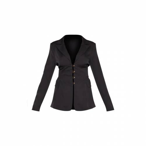 4FASHION ウーブン ブレーザー ブレイザー 【 Prettylittlething Corset Woven Blazer 】 Black