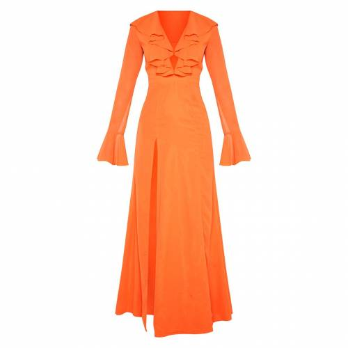 4FASHION ドレス 橙 オレンジ 【 ORANGE 4FASHION PRETTYLITTLETHING PRINTED PLUNGE FRILL MAXI DRESS BRIGHT 】 レディースファッション ドレス