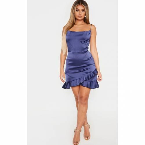 AADAM サテン ドレス レディースファッション 【 Prettylittlething Hammered Satin Frill Hem Detail Strappy Bodycon Dress 】 Midnight Blue