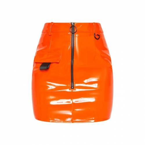 4FASHION ビニール レディースファッション ボトムス スカート 【 Prettylittlething Vinyl Zip Detail Mini Skirt 】 Neon Orange
