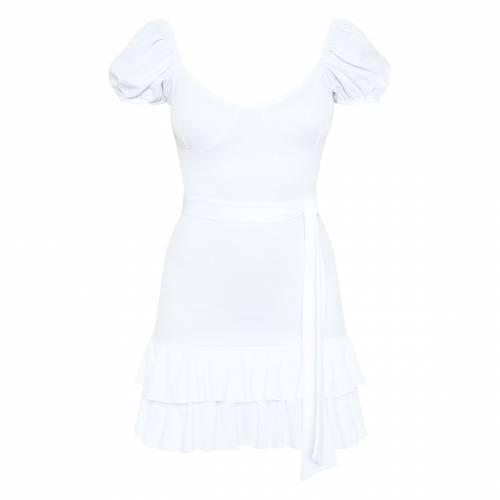 GLOBALLE ドレス 白 ホワイト 【 WHITE GLOBALLE PRETTYLITTLETHING GINGHAM TIE WAIST FRILL HEM DRESS 】 レディースファッション ドレス