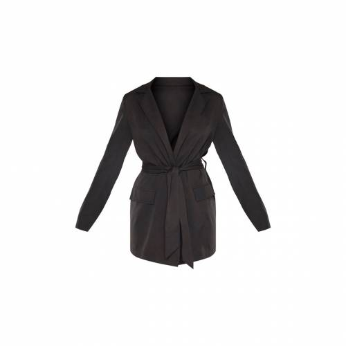 4FASHION 【 Prettylittlething Tall Tied Waist Suit Jacket 】 Black