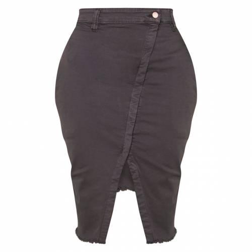 REDOX ミッド ラップ デニム レディースファッション ボトムス スカート 【 Prettylittlething Shape Mid Wash Wrap Denim Midi Skirt 】 Charcoal