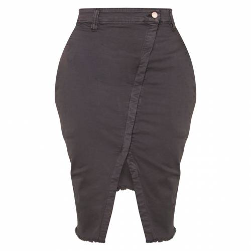 REDOX ラップ デニム レディースファッション ボトムス スカート 【 Prettylittlething Shape Wrap Denim Midi Skirt 】 Charcoal