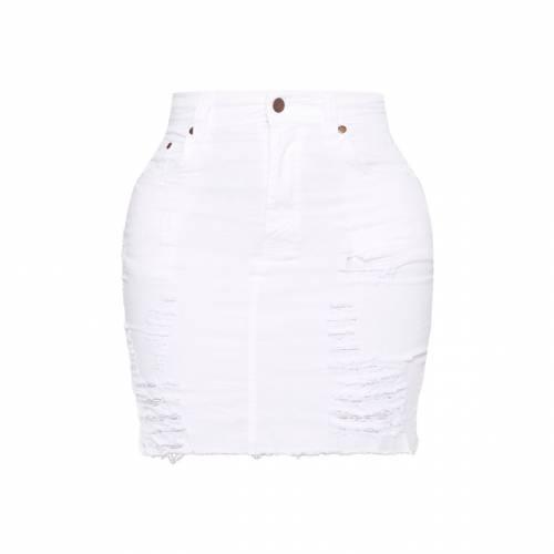 REDOX 白 ホワイト ハイ デニム 【 WHITE SHAPE HIGH WAIST DISTRESSED DENIM SKIRT 】 レディースファッション ボトムス スカート