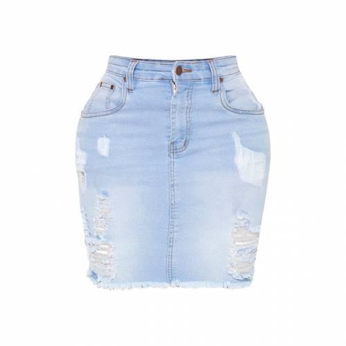 REDOX 白 ホワイト ハイ デニム 青 ブルー 【 WHITE BLUE SHAPE HIGH WAIST DISTRESSED DENIM SKIRT LIGHT WASH 】 レディースファッション ボトムス スカート