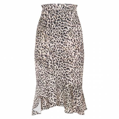 DVCLOTH レディースファッション ボトムス スカート 【 Prettylittlething Petite Tan Ruffle Detail Midi Skirt 】 Leopard
