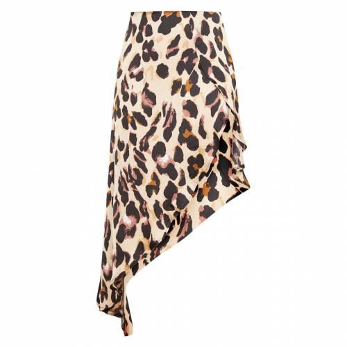 ANIL サテン レディースファッション ボトムス スカート 【 Prettylittlething Petite Leopard Print Satin Asymmetric Skirt 】 Tan