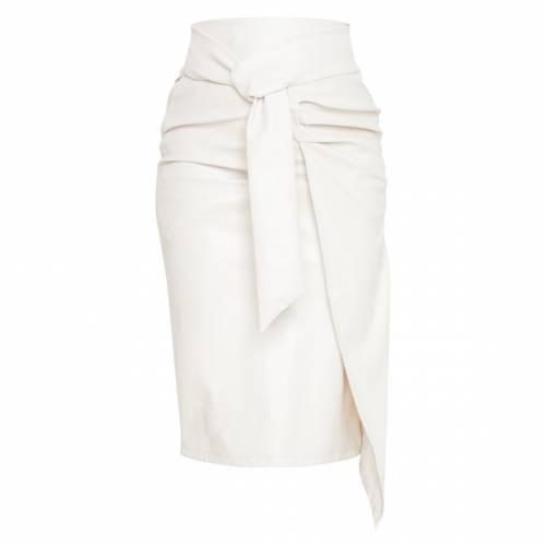 4FASHION レザー レディースファッション ボトムス スカート 【 Prettylittlething Faux Leather Drape Front Midi Skirt 】 Cream