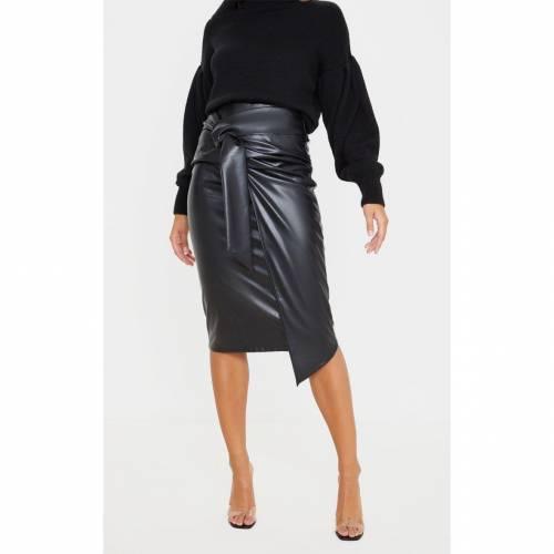 4FASHION レザー レディースファッション ボトムス スカート 【 Prettylittlething Faux Leather Drape Front Midi Skirt 】 Black