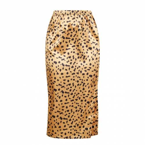 ONYX キャメル サテン レディースファッション ボトムス スカート 【 Prettylittlething Camel Cheetah Print Satin Side Split Midi Skirt 】 Champagne