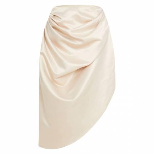 4FASHION サテン ウーブン レディースファッション ボトムス スカート 【 Prettylittlething Satin Woven Ruched Side Midi Skirt 】 Cream
