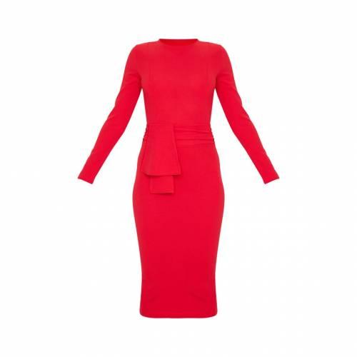APPARELT 緑 グリーン スリーブ ラップ 【 GREEN SLEEVE WRAP EMERALD LONG WAIST MIDI DRESS RED 】 レディースファッション ドレス