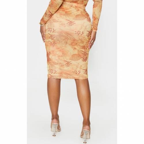 PASSIOND レディースファッション ボトムス スカート 【 Prettylittlething Shape Oriental Printed Mesh Midi Skirt 】 Stone